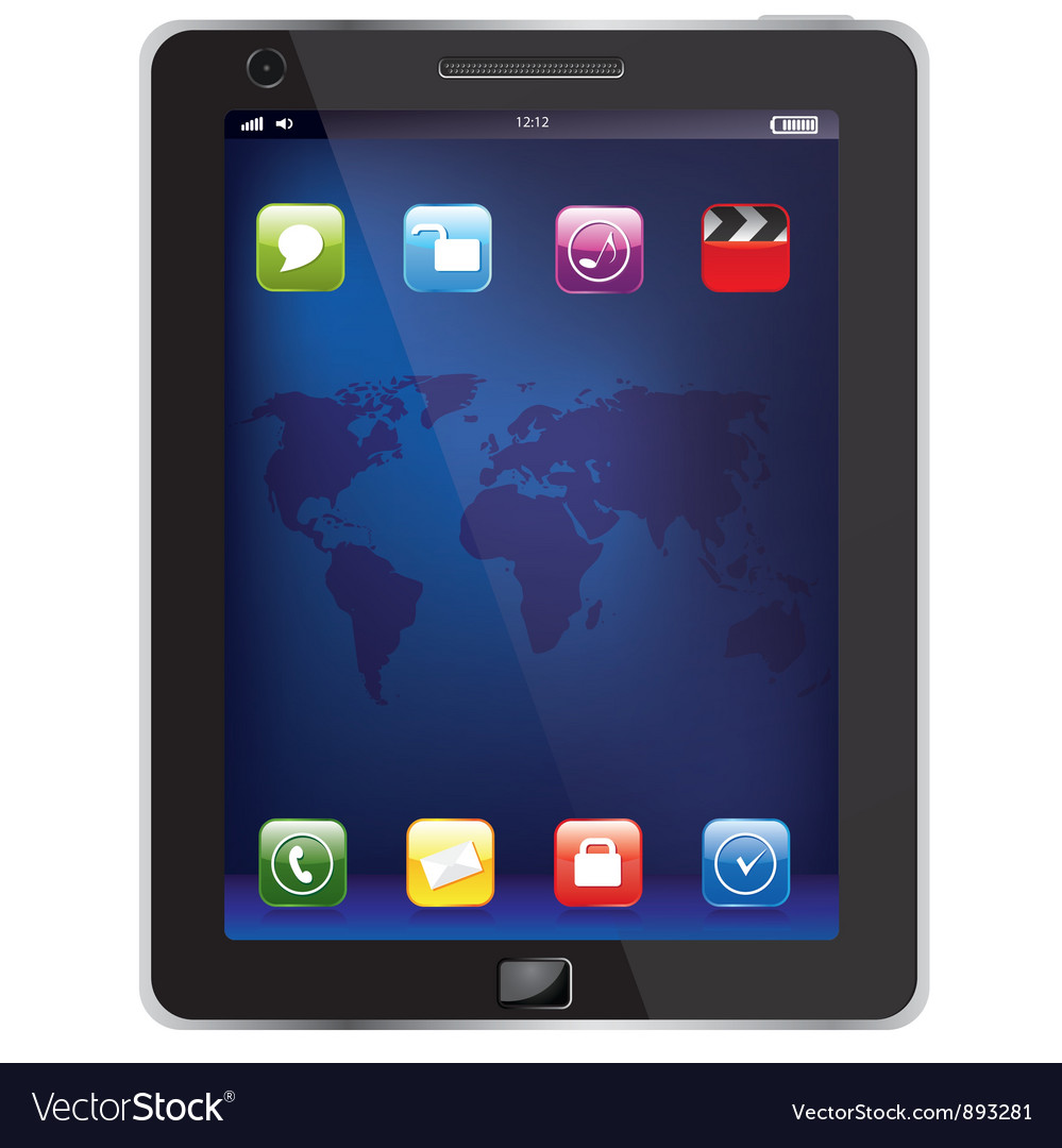 Ipad with map vector | Price: 1 Credit (USD $1)