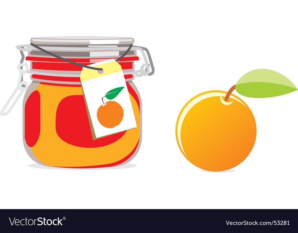 Orange jam jar and fruit vector | Price: 1 Credit (USD $1)