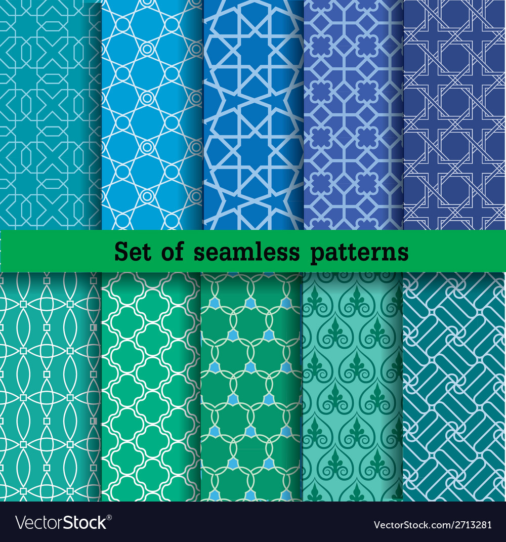 Set 2 of seamless patterns vector | Price: 1 Credit (USD $1)