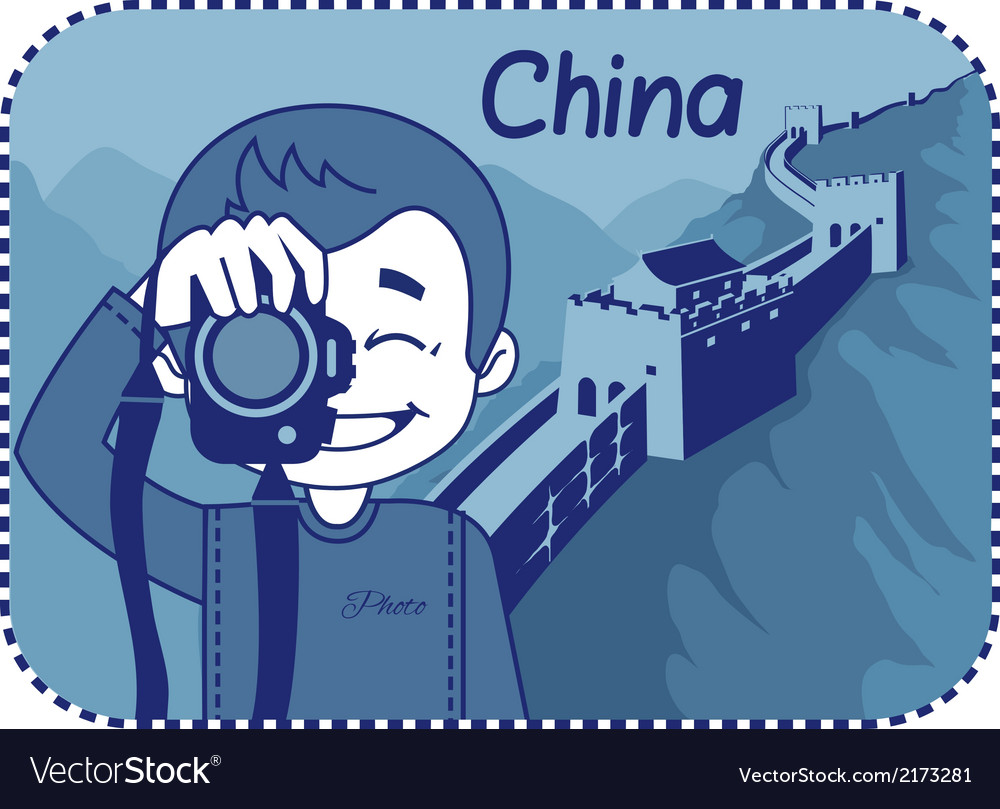 Teaser with photographer travels through china vector | Price: 1 Credit (USD $1)