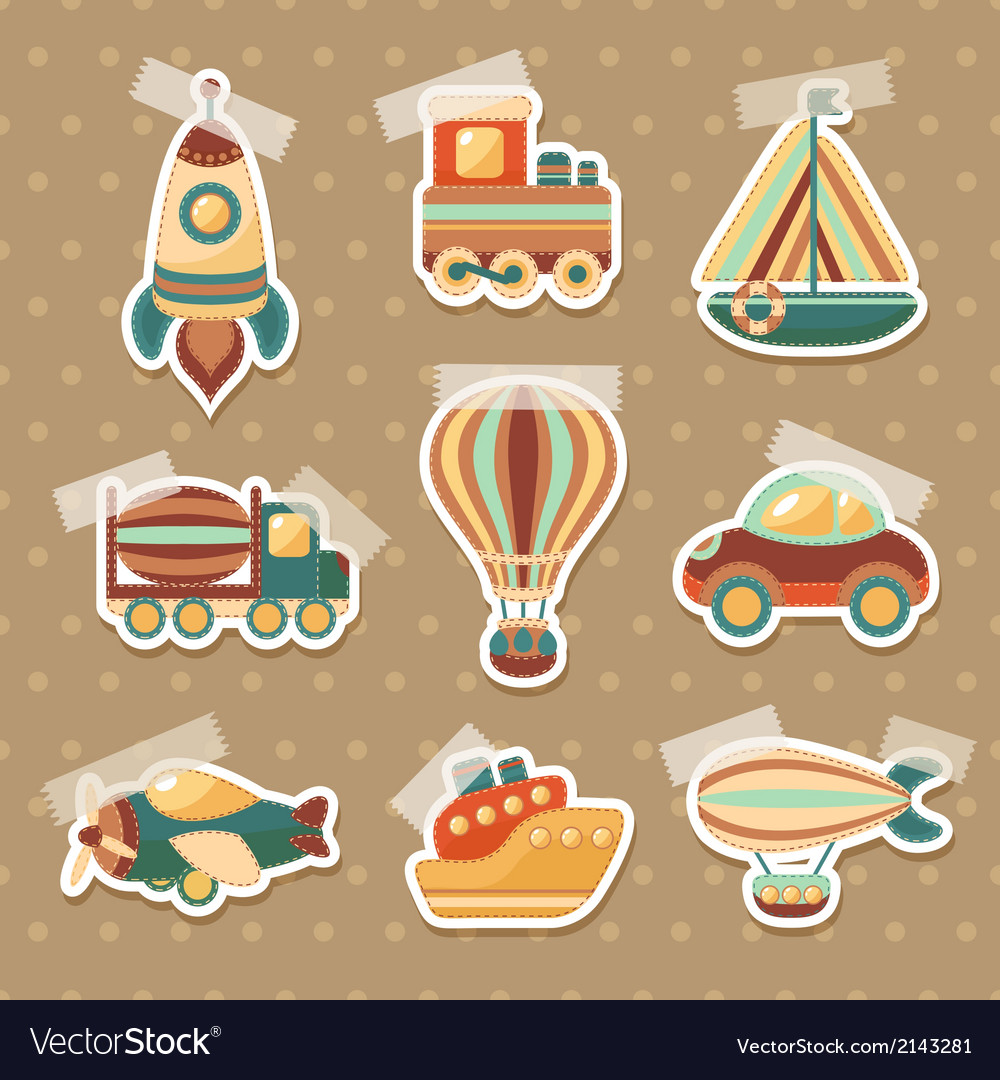 Transport toy stickers set vector | Price: 1 Credit (USD $1)