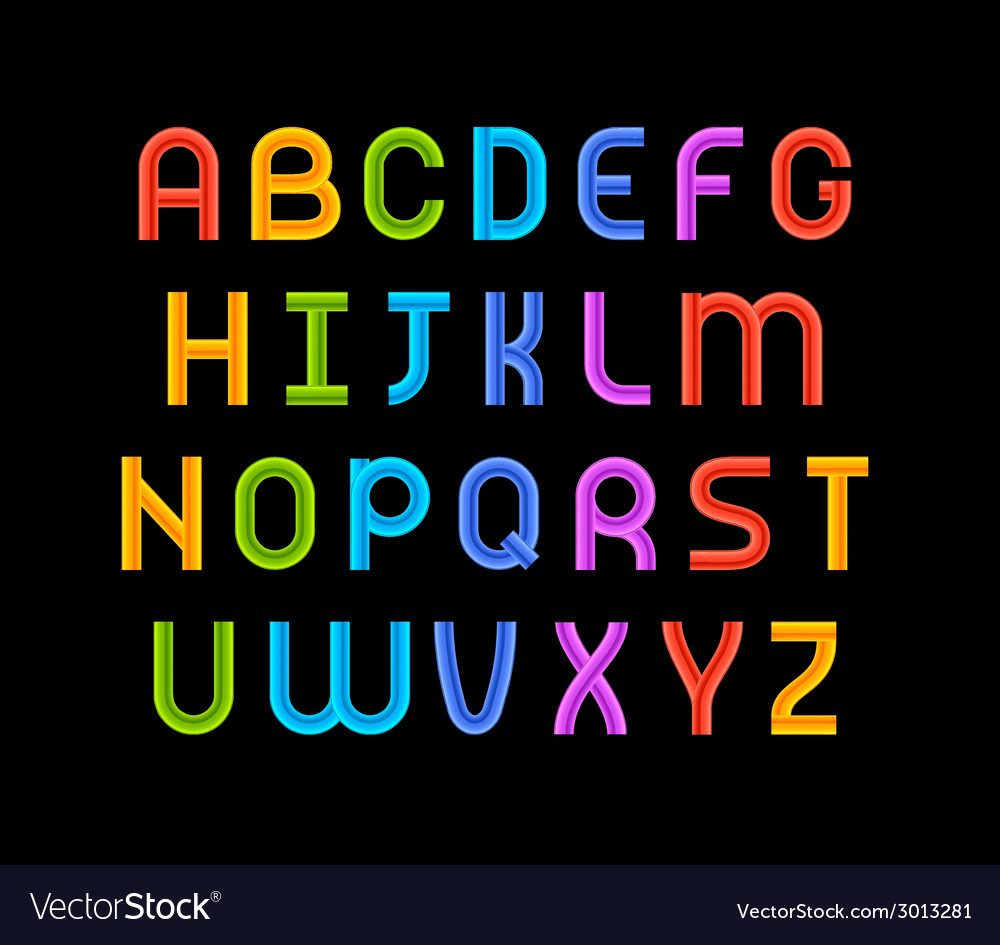 Wired wavy cable colorful contour alphabet vector | Price: 1 Credit (USD $1)