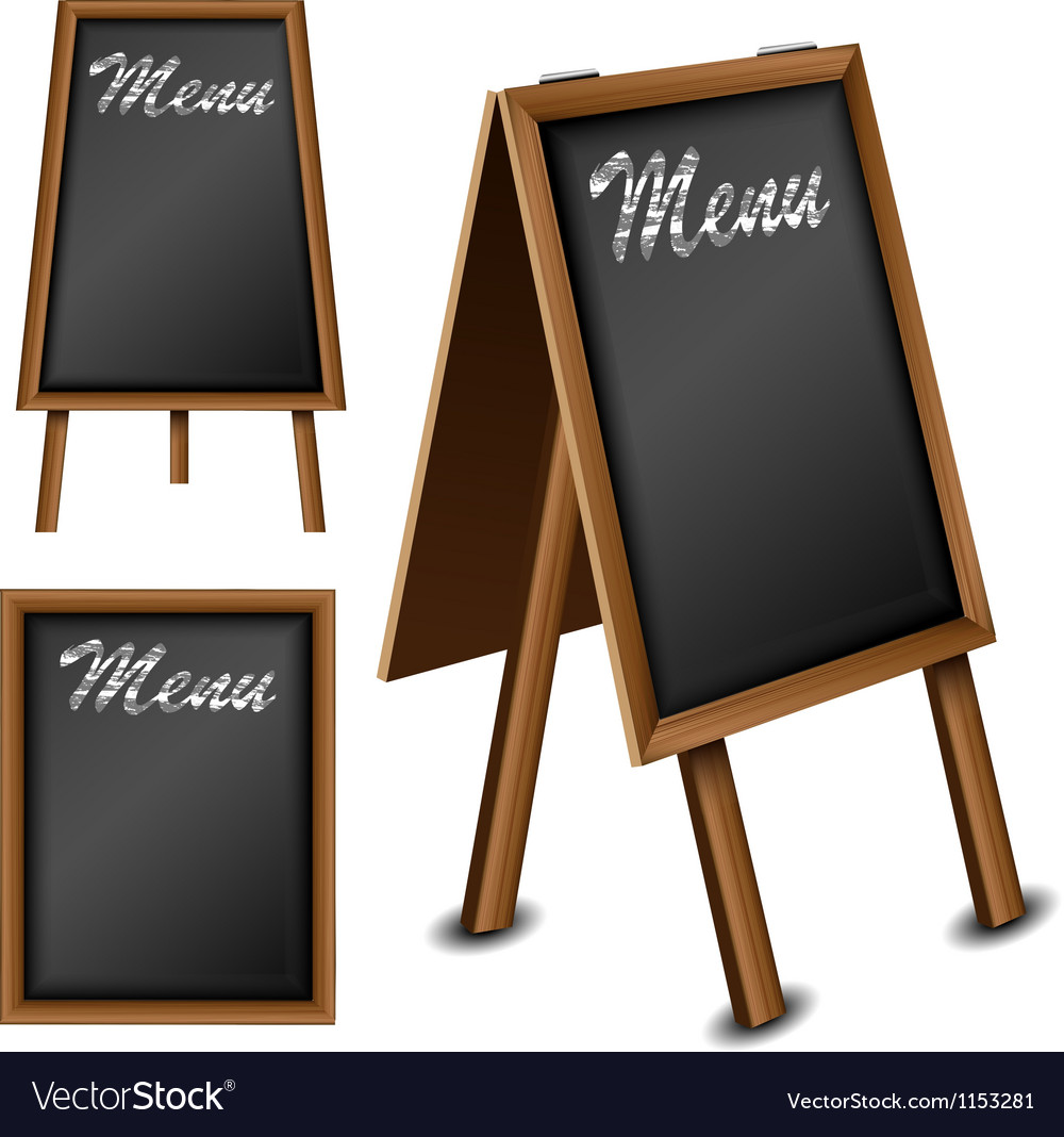 Wood blackboard set for menu vector | Price: 1 Credit (USD $1)