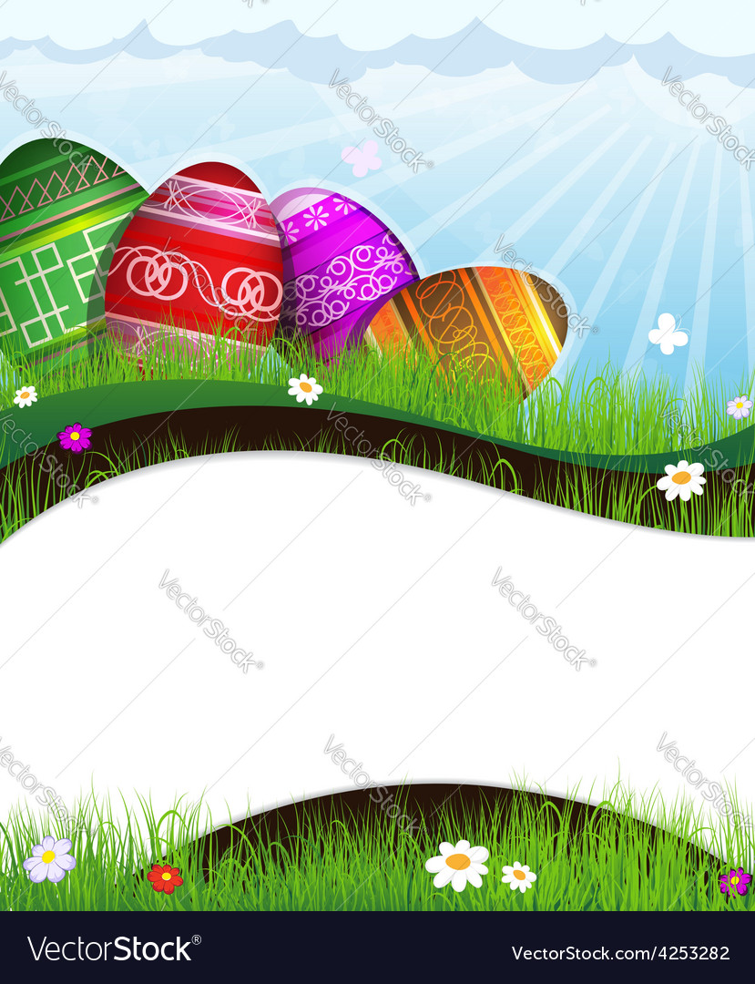 Colorful easter eggs in grass vector | Price: 3 Credit (USD $3)