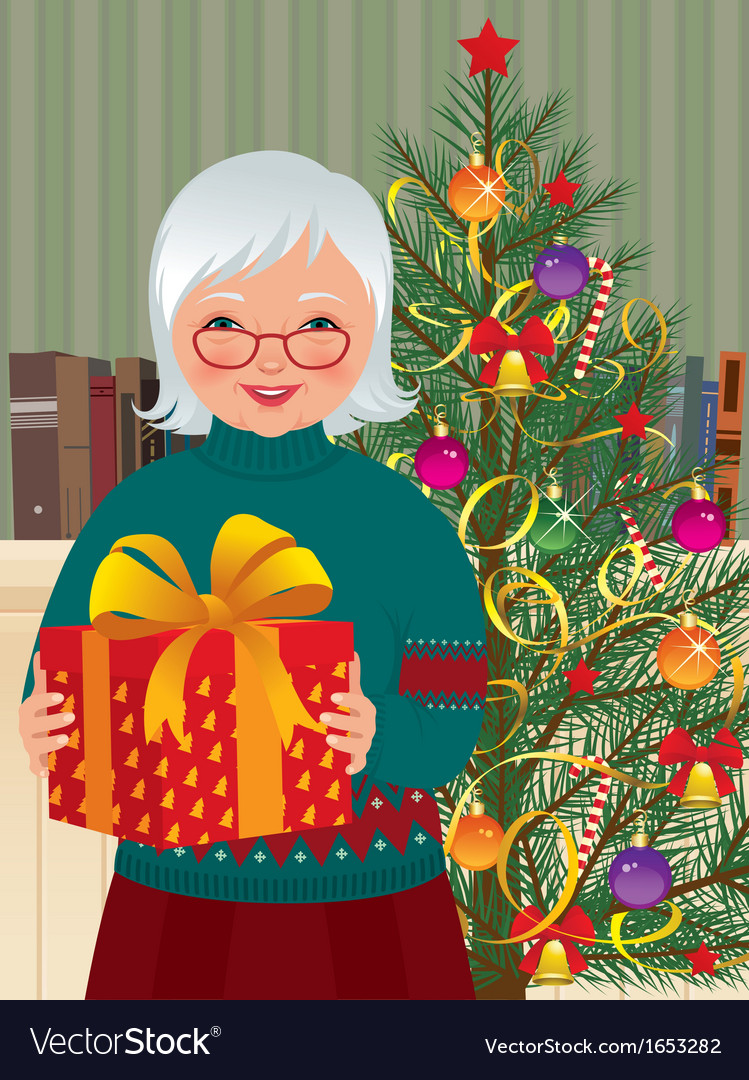 Grandmother and christmas gift vector | Price: 3 Credit (USD $3)