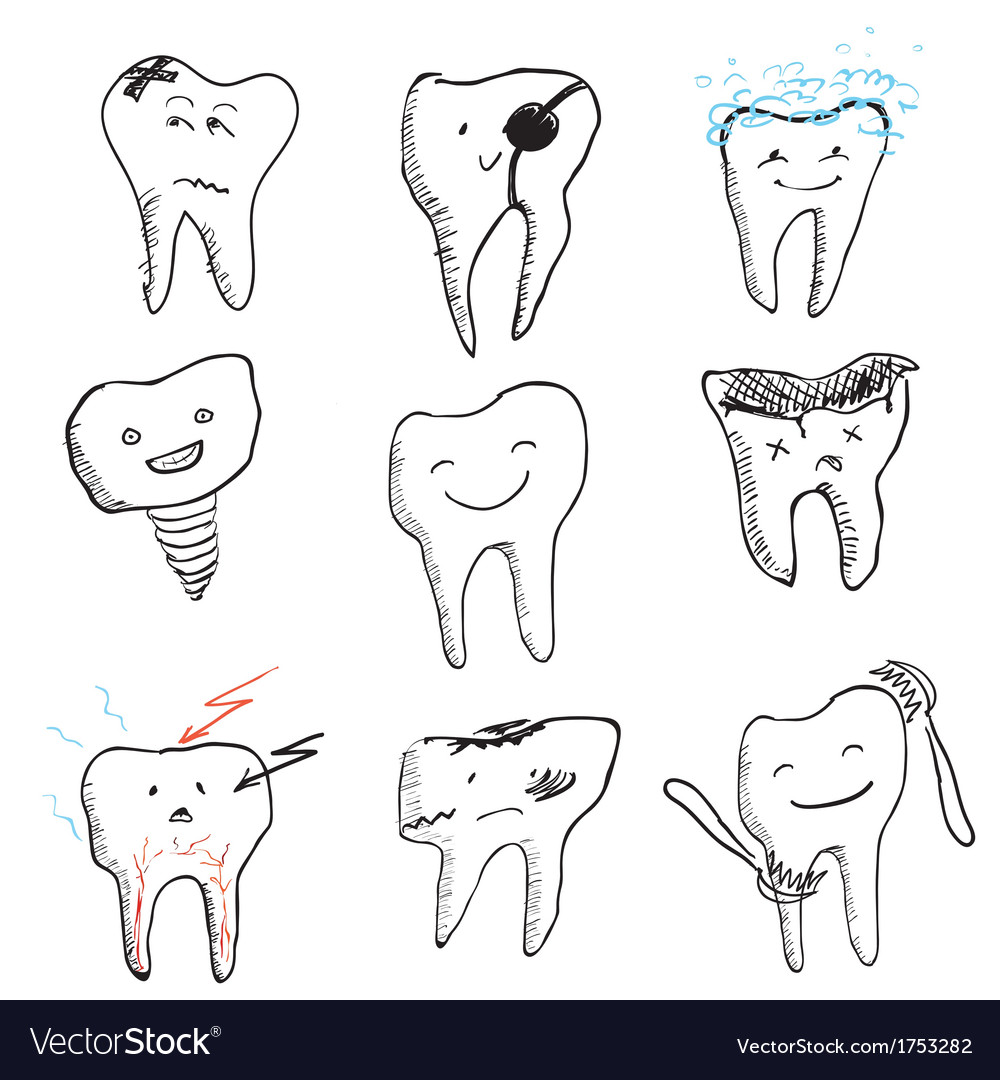 Hand drawn funny teeth icons collection vector | Price: 1 Credit (USD $1)