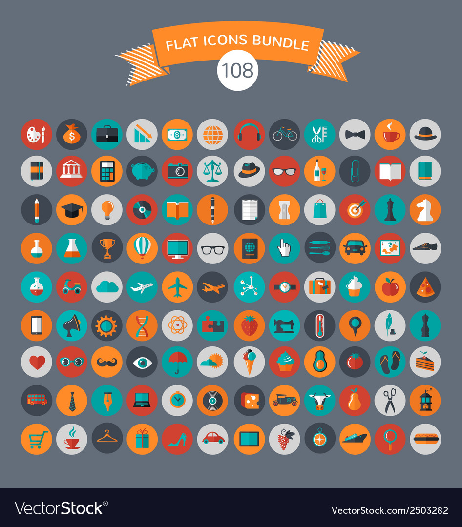 Huge modern collection of flat icons vector | Price: 1 Credit (USD $1)