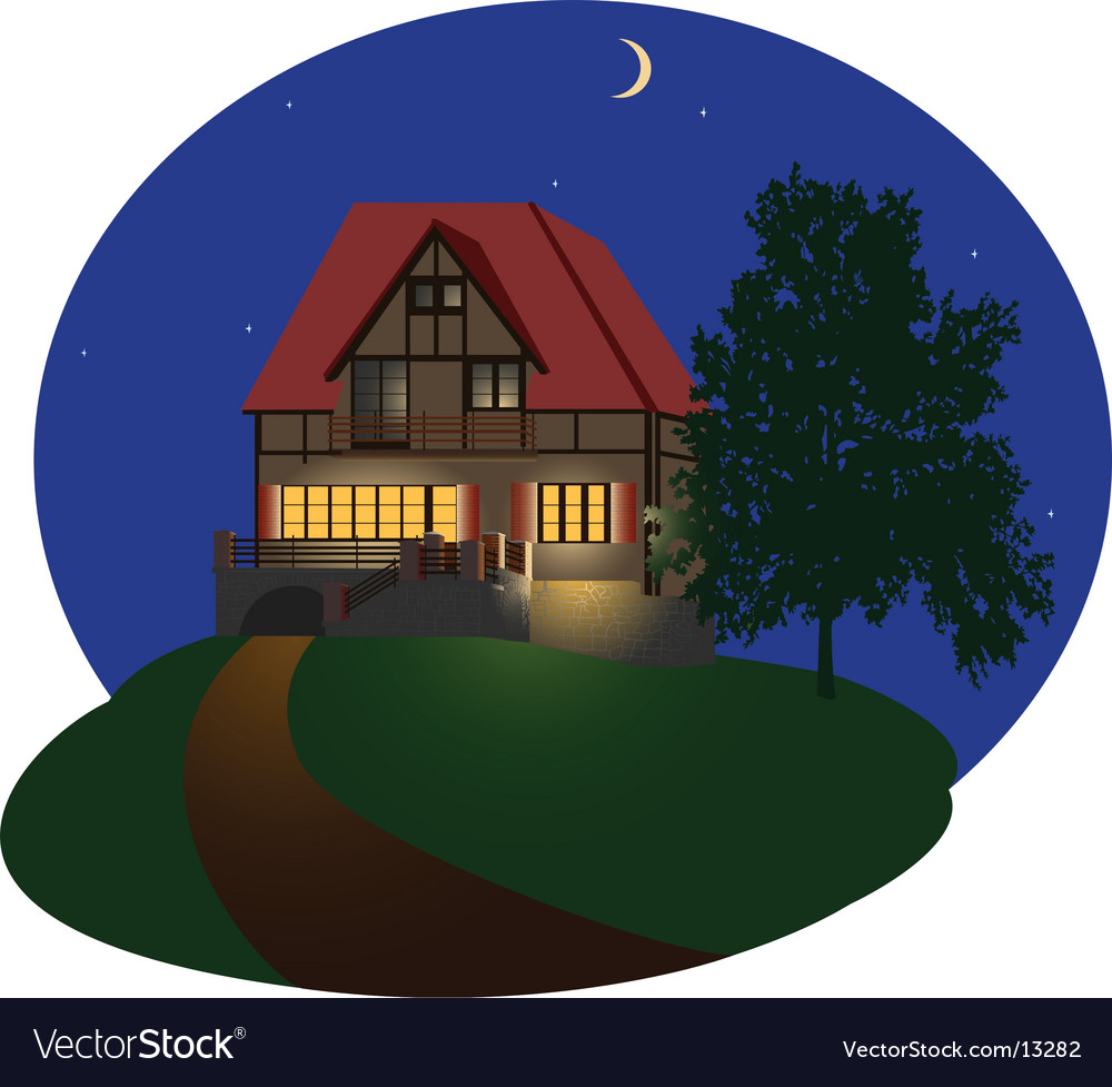 Night house vector | Price: 3 Credit (USD $3)