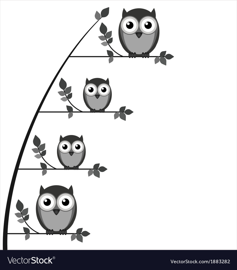Owl family tree vector | Price: 1 Credit (USD $1)
