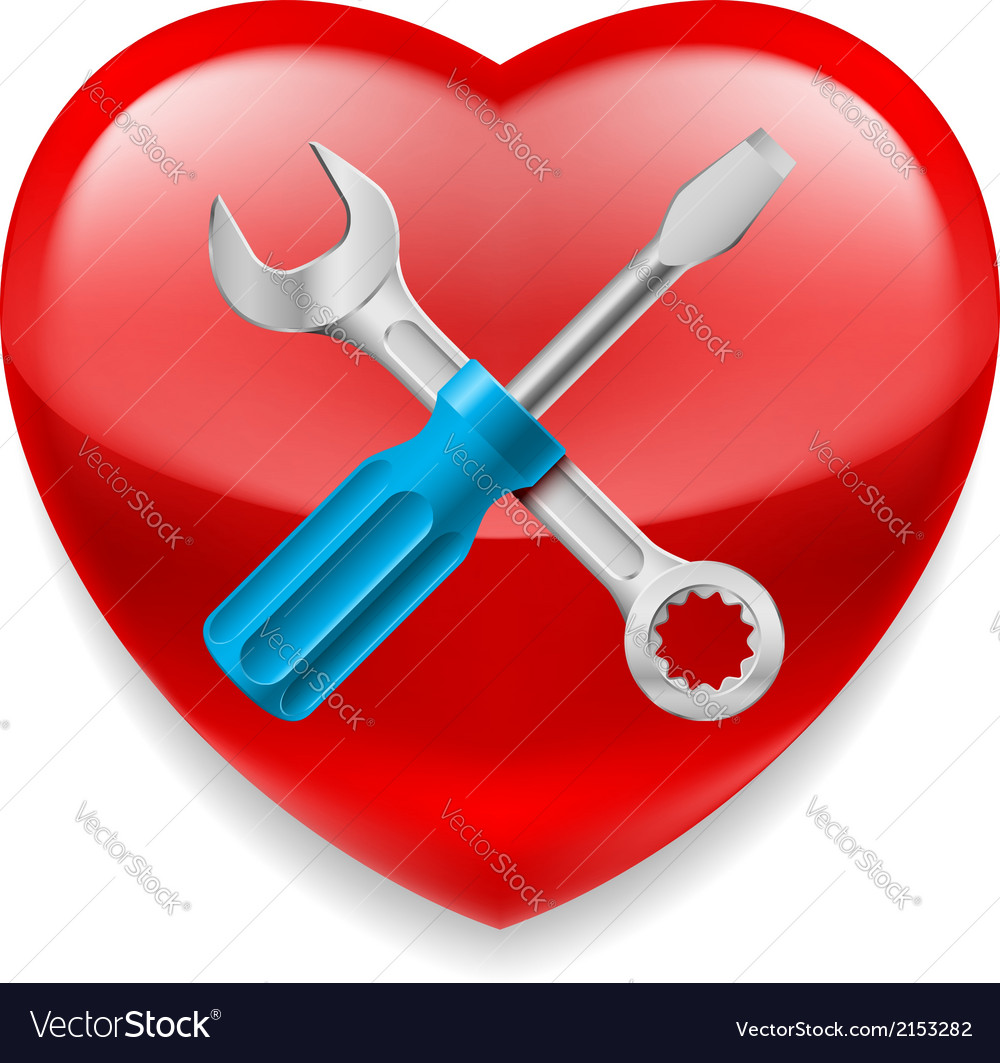 Red heart with tools vector | Price: 1 Credit (USD $1)