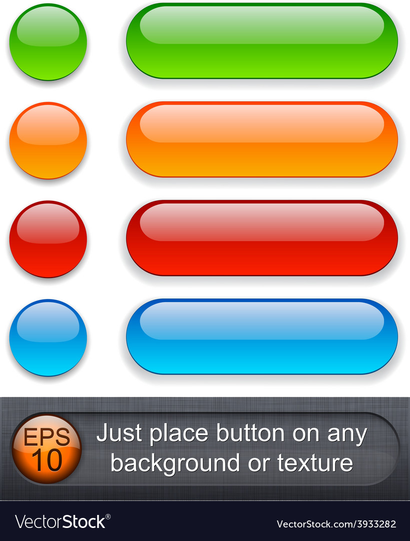 Rounded glossy buttons vector | Price: 1 Credit (USD $1)
