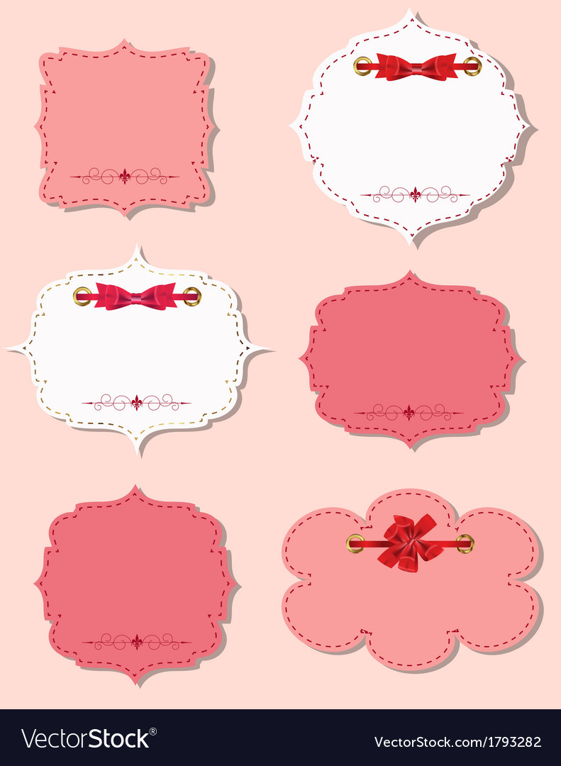 Set of different gift cards with ribbons design vector | Price: 1 Credit (USD $1)