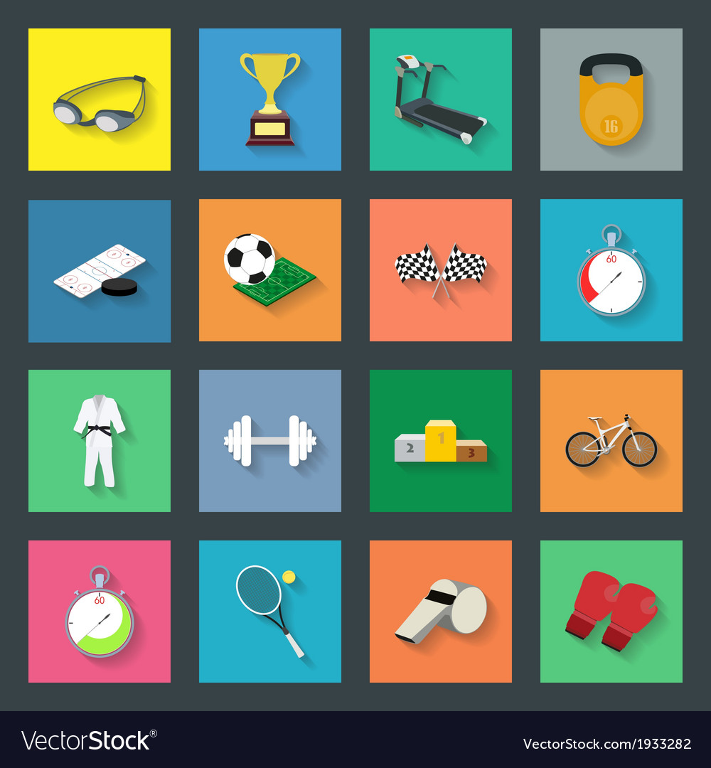 Sport flat icons set vector | Price: 1 Credit (USD $1)