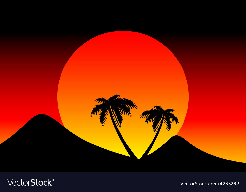 Sunset behind the mountain vector