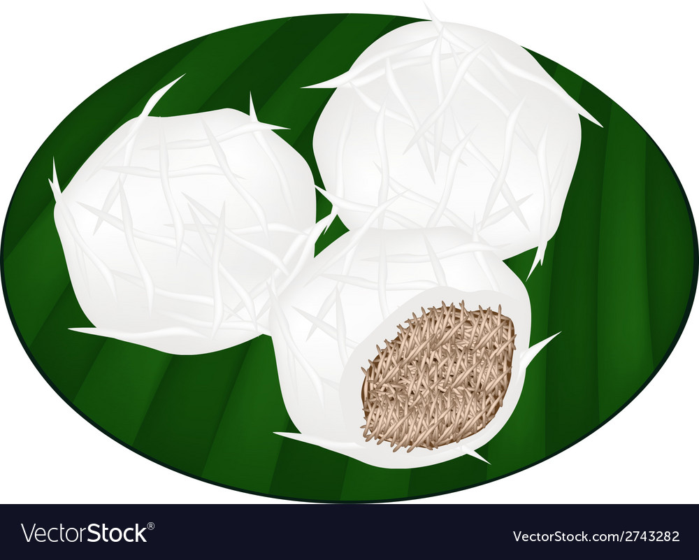 Thai stuffed coconut ball on banana leaf vector | Price: 1 Credit (USD $1)