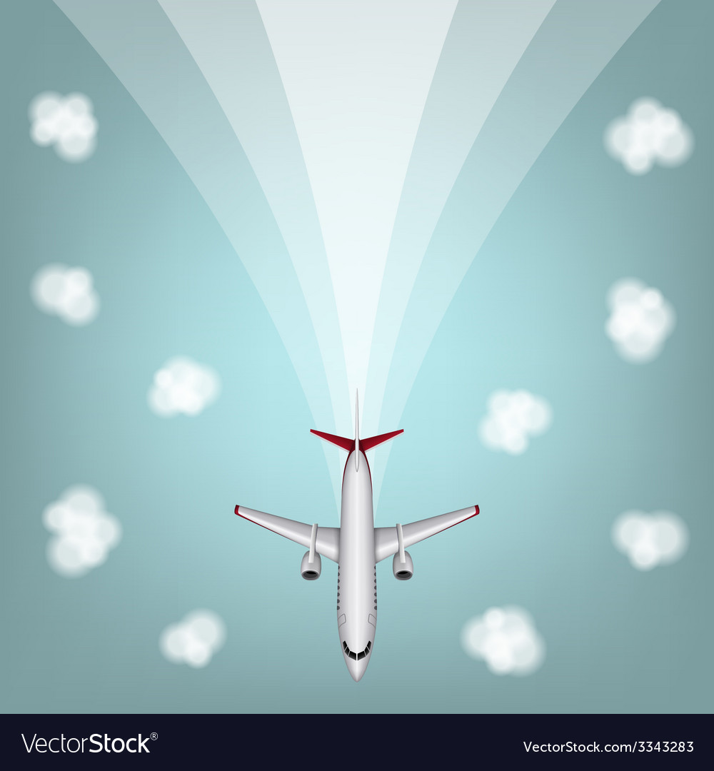 Airplanes with clouds and line vector | Price: 1 Credit (USD $1)