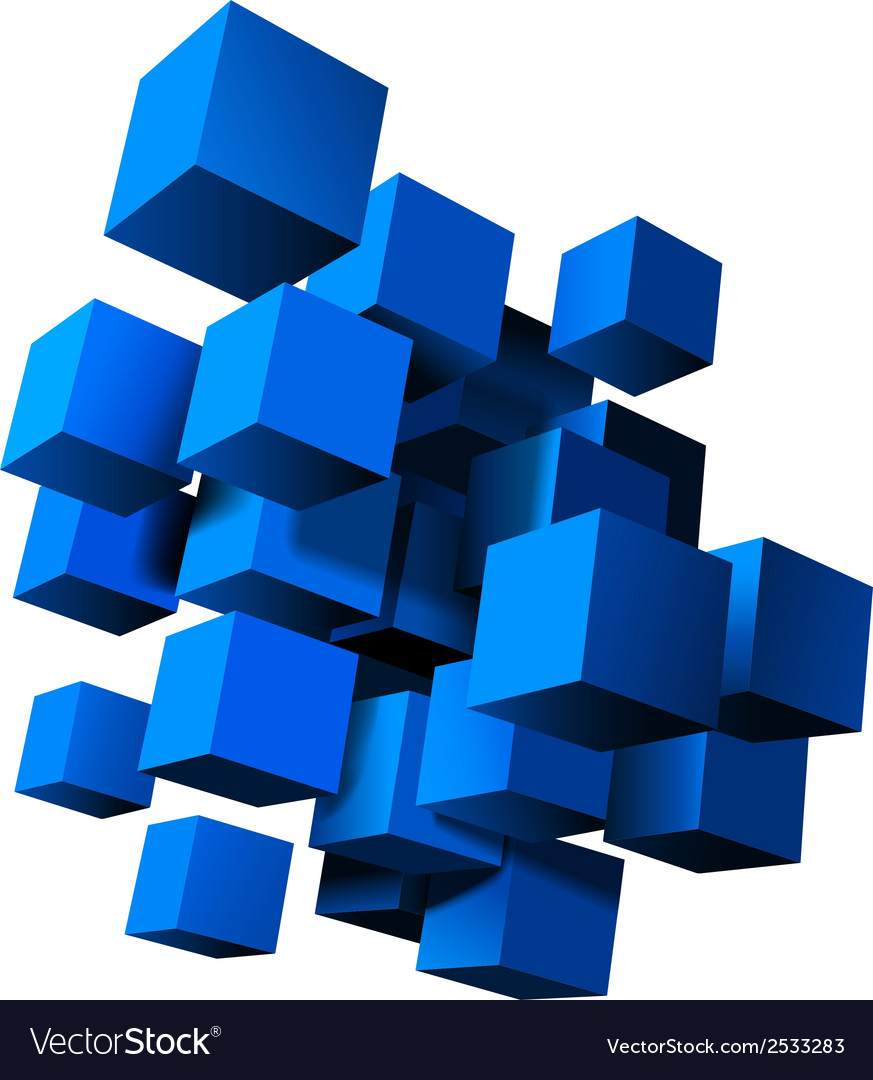Composition of blue 3d cubes vector | Price: 1 Credit (USD $1)