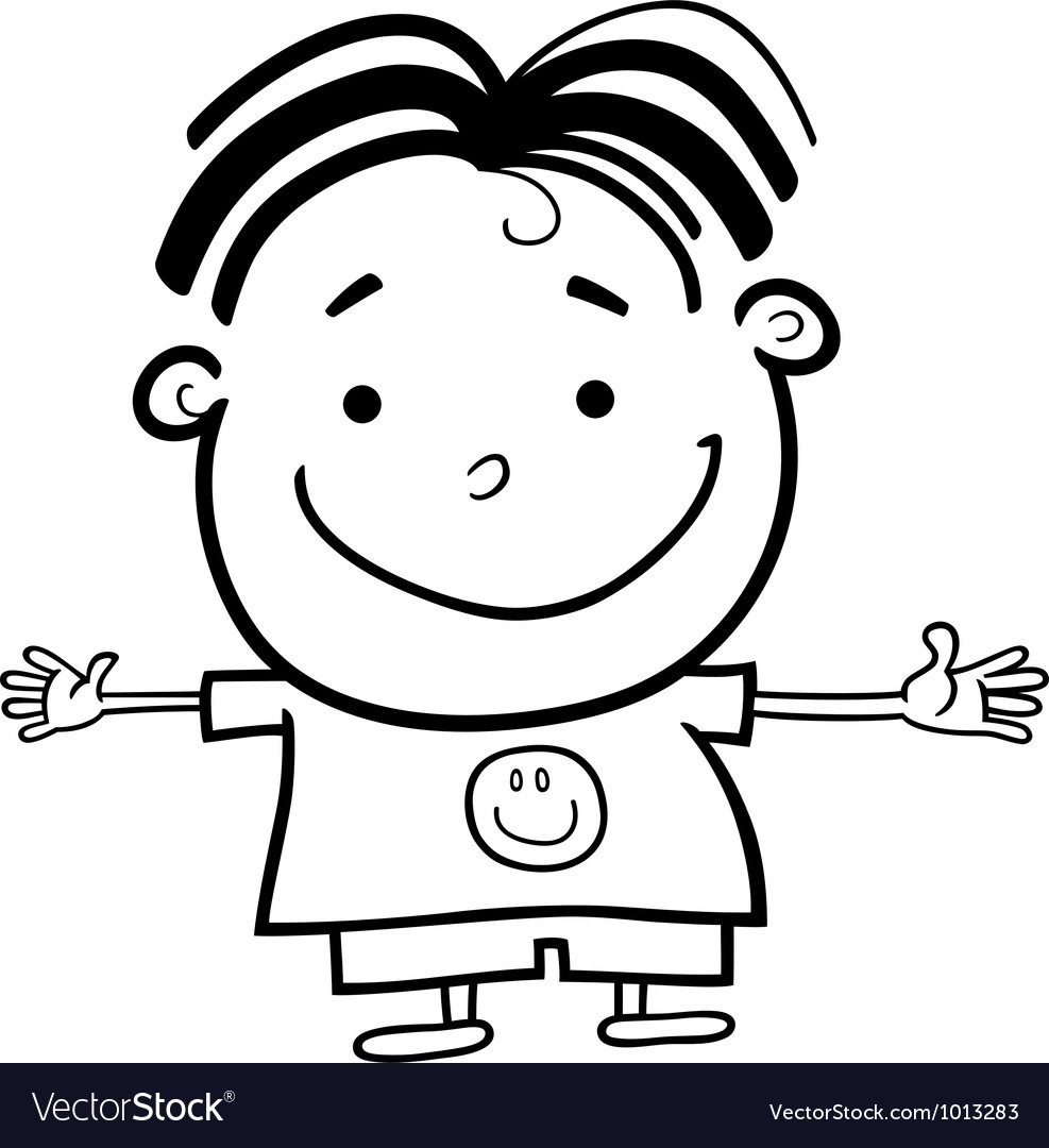 Cute little happy boy for coloring vector | Price: 1 Credit (USD $1)
