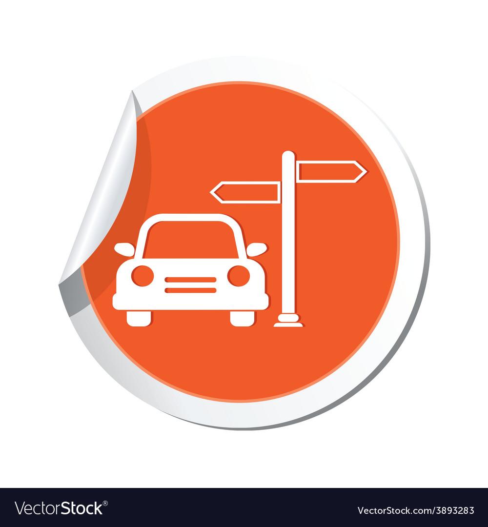Direct car orange label vector | Price: 1 Credit (USD $1)