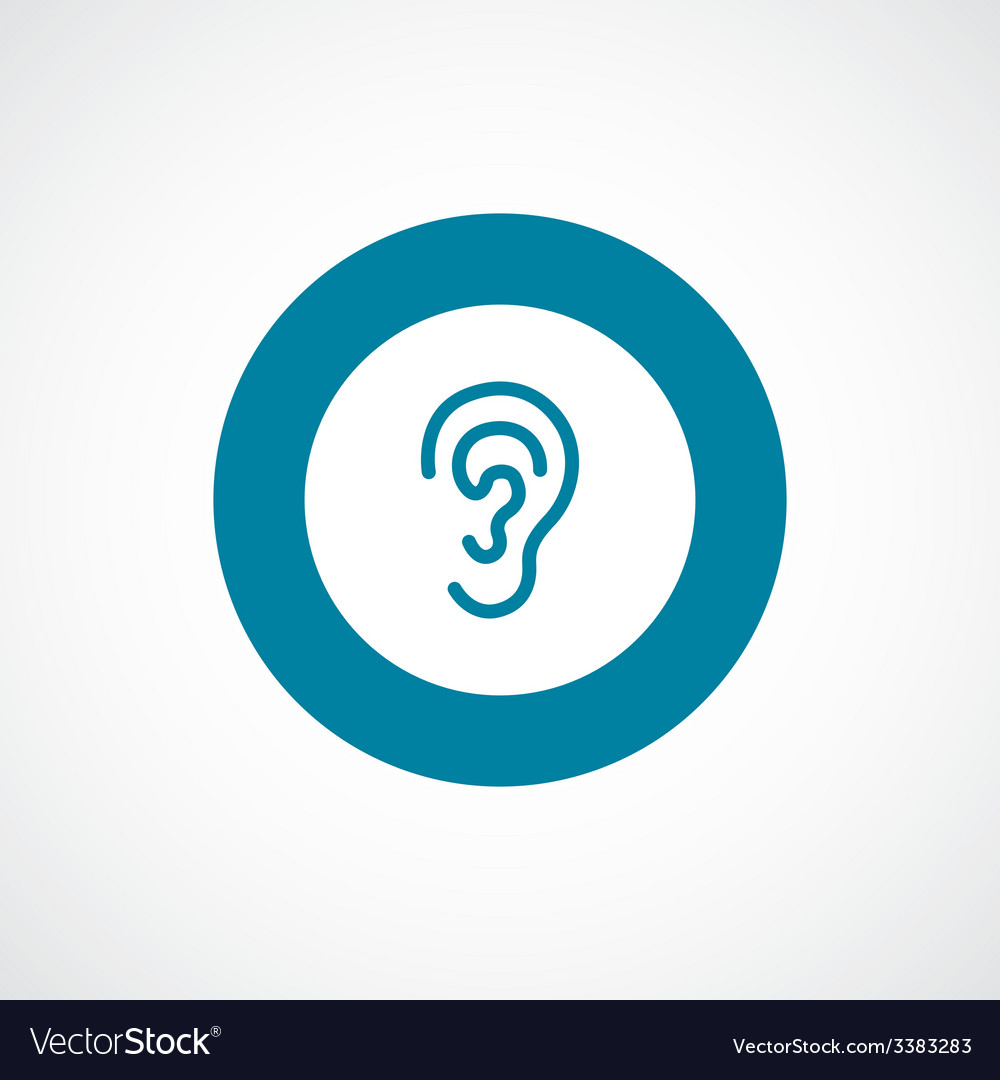 Ear bold blue border circle icon vector | Price: 1 Credit (USD $1)