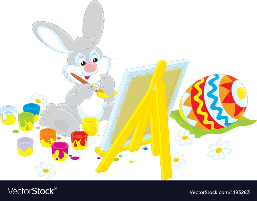 Easter bunny artist vector | Price: 1 Credit (USD $1)
