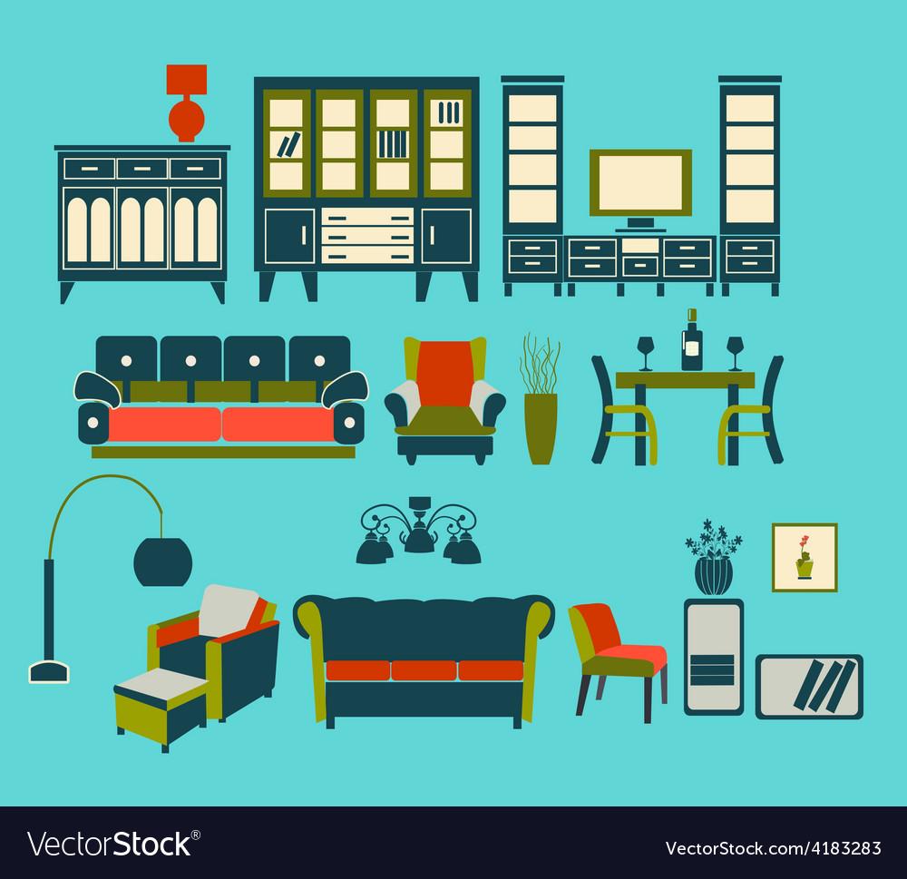 Flat interior living furniture vector | Price: 1 Credit (USD $1)