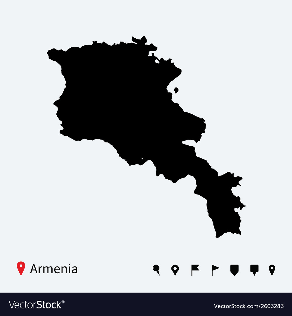 High detailed map of armenia with navigation pins vector | Price: 1 Credit (USD $1)