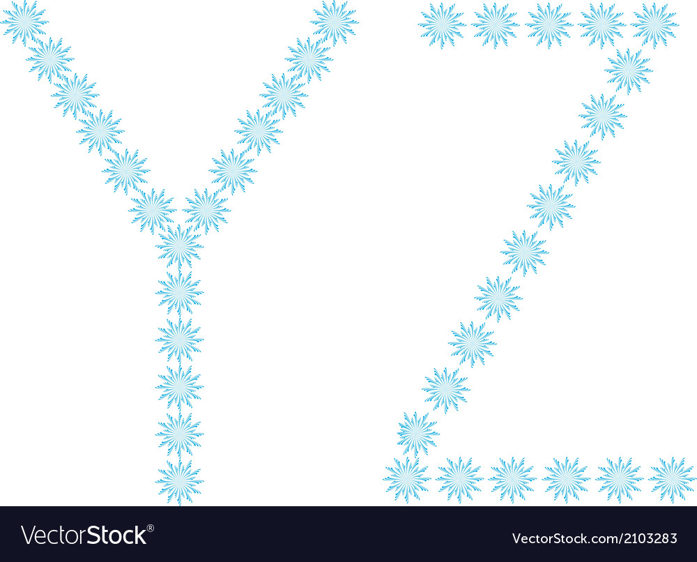 Letter y z from snowflakes vector | Price: 1 Credit (USD $1)