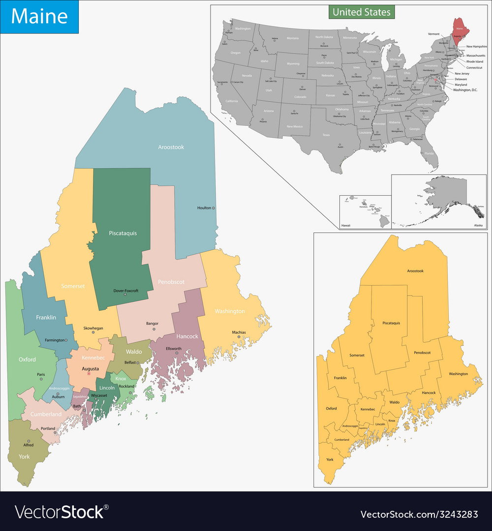 Maine map vector | Price: 1 Credit (USD $1)