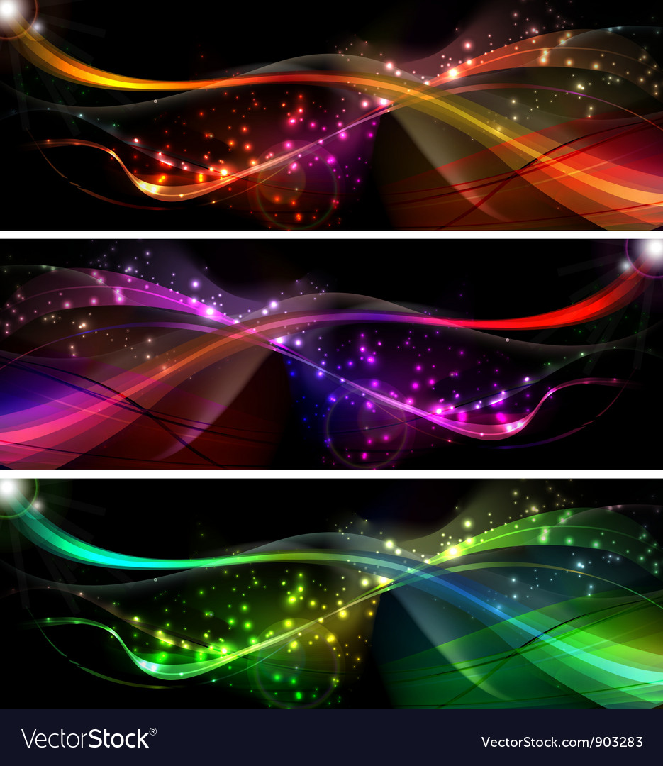 Neon wave set vector