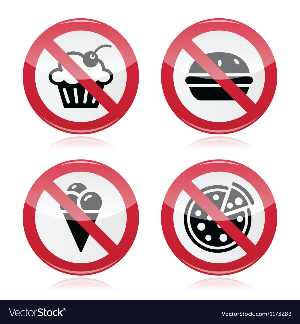No fast food no sweets warning red sign vector | Price: 1 Credit (USD $1)