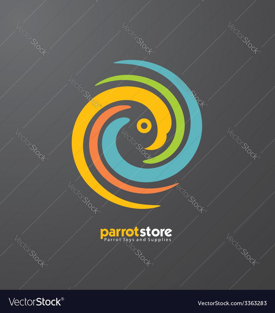 Parrot abstract logo design template vector
