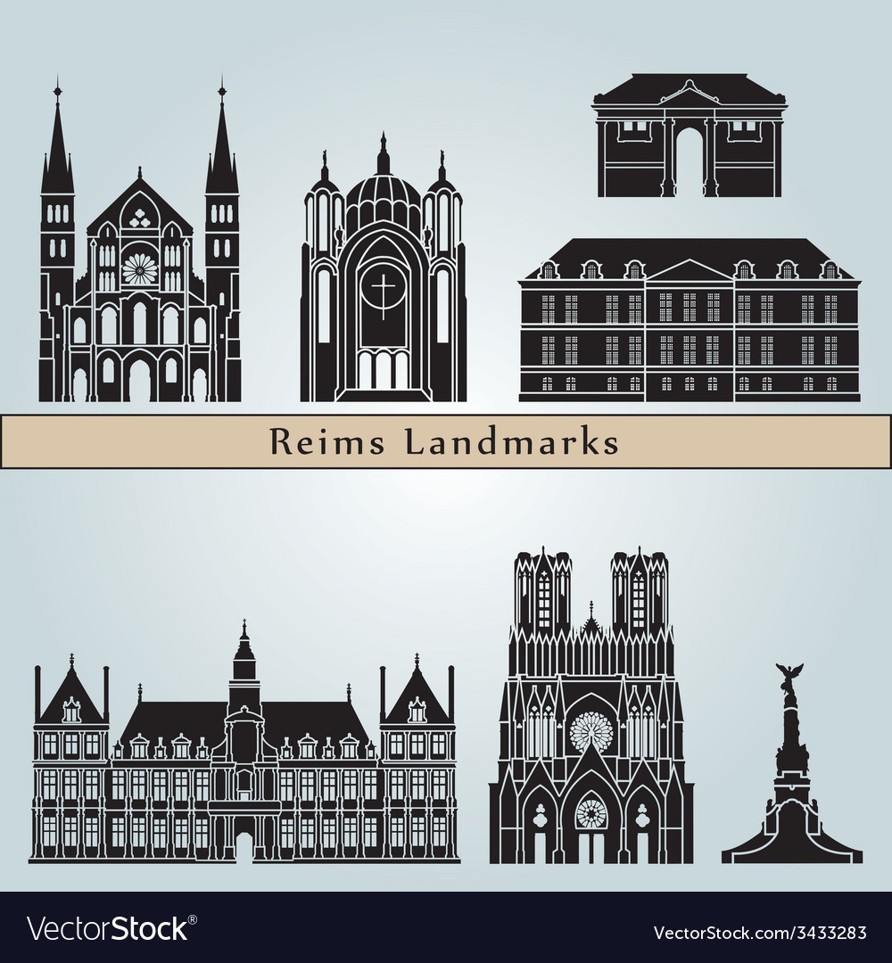 Reims landmarks and monuments vector   Price: 1 Credit (USD $1)