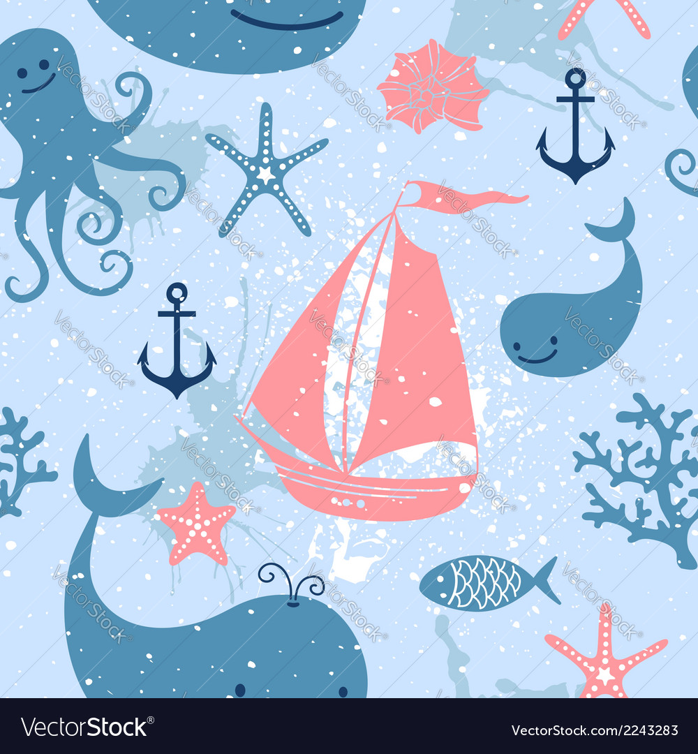 Seamless pattern with cute whales sailing vector | Price: 1 Credit (USD $1)