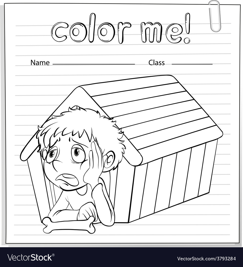 A worksheet showing a young boy vector | Price: 1 Credit (USD $1)
