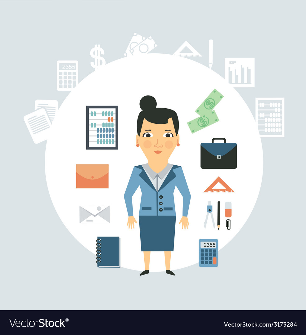 Accountant of working things vector | Price: 1 Credit (USD $1)