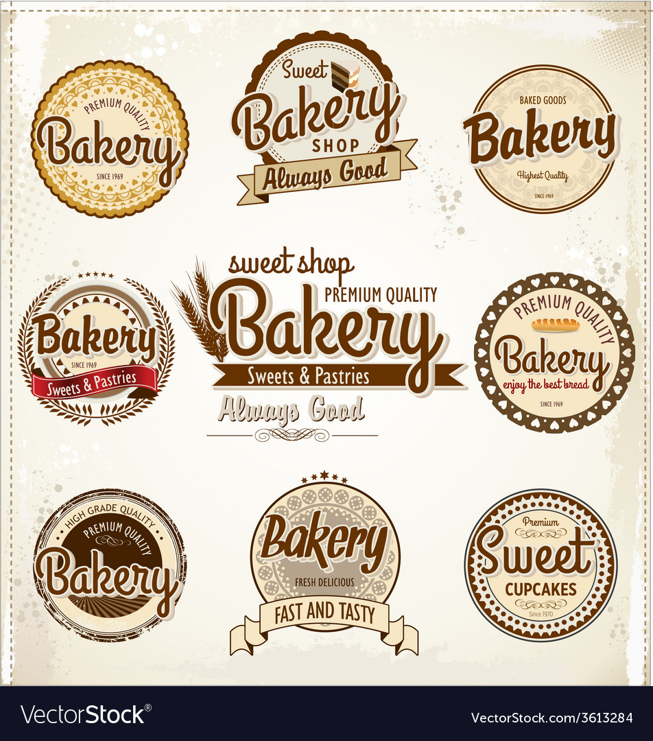 Bakery badges and labels vector   Price: 1 Credit (USD $1)