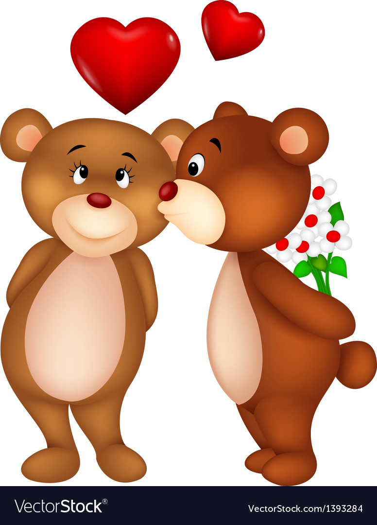 Bear couple cartoon kissing vector | Price: 3 Credit (USD $3)