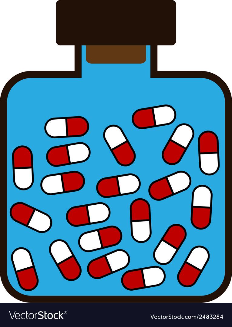 Bottle with a medicine tablets vector | Price: 1 Credit (USD $1)