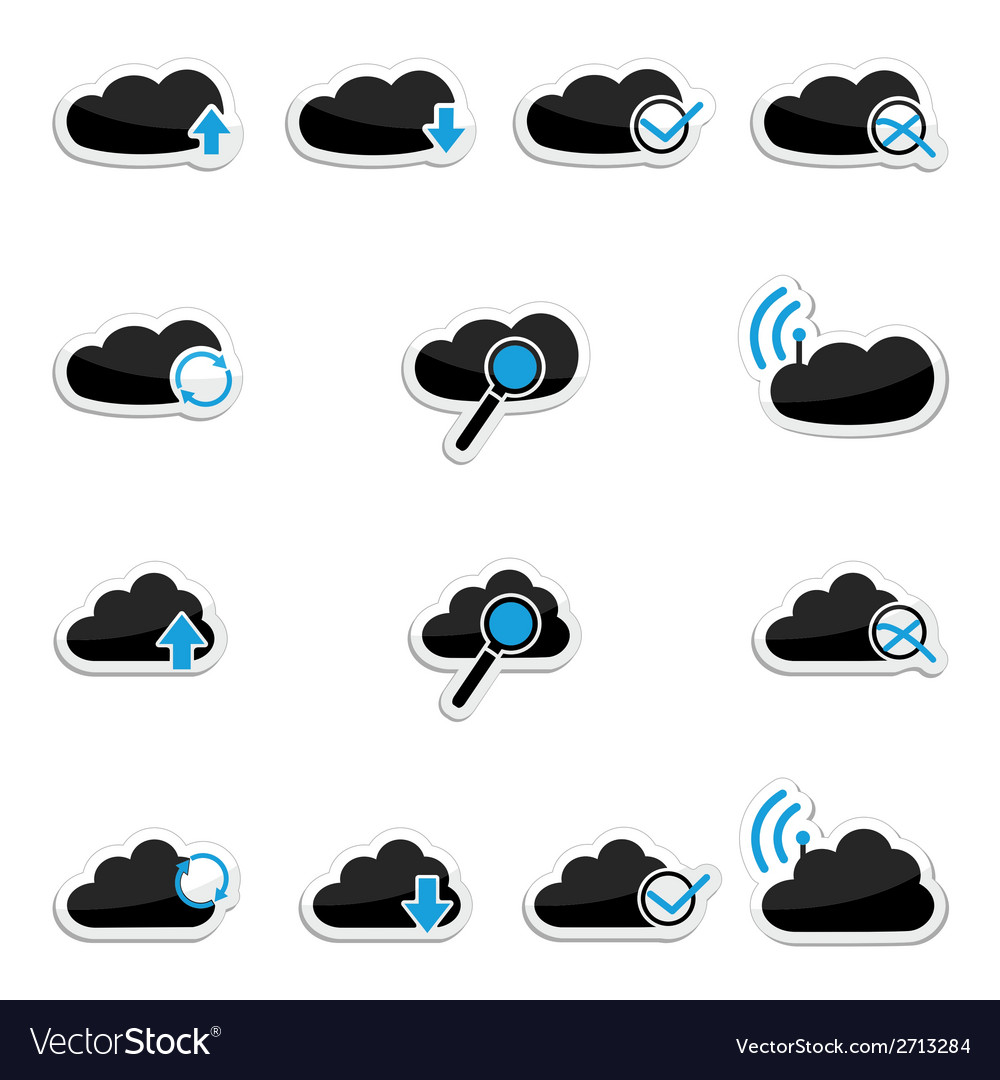 Cloud computing icon set vector | Price: 1 Credit (USD $1)