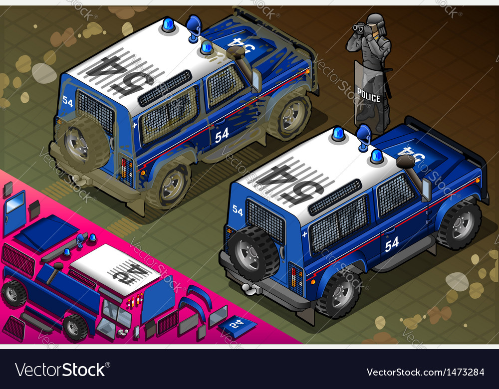 Isometric police off road vehicle in rear view vector | Price: 1 Credit (USD $1)