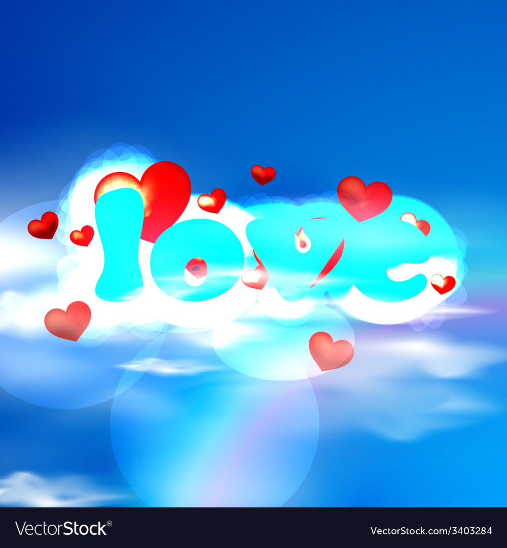 Love with red hearts and blue letters on the sky vector | Price: 1 Credit (USD $1)