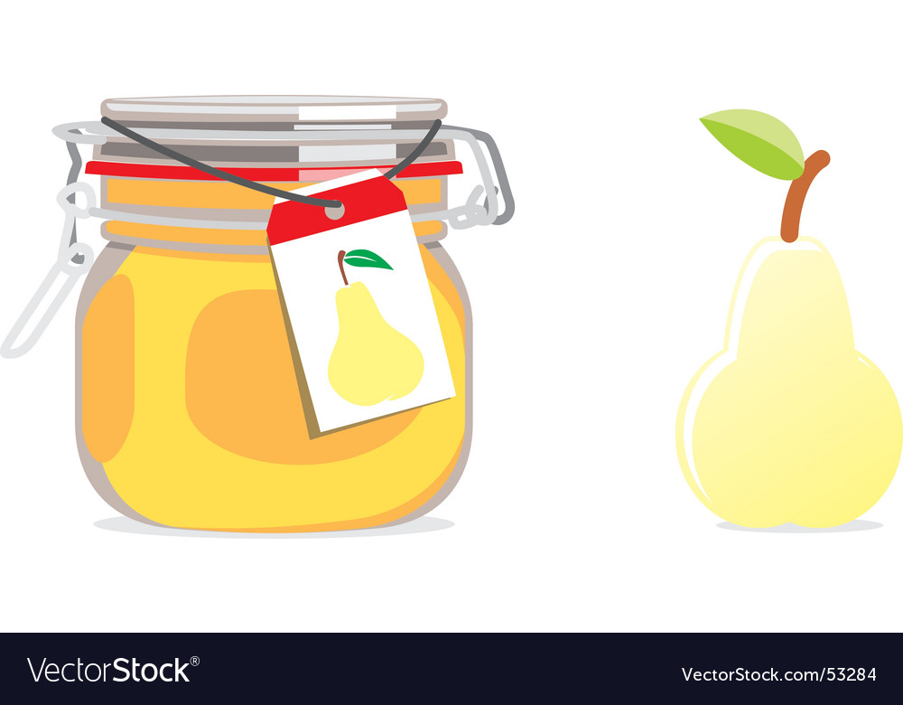 Pear jam jar and fruit vector | Price: 1 Credit (USD $1)