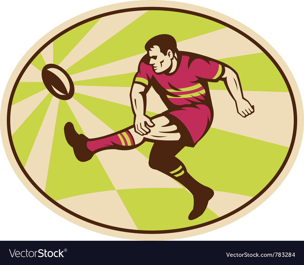 Rugby player kicking ball vector | Price: 1 Credit (USD $1)