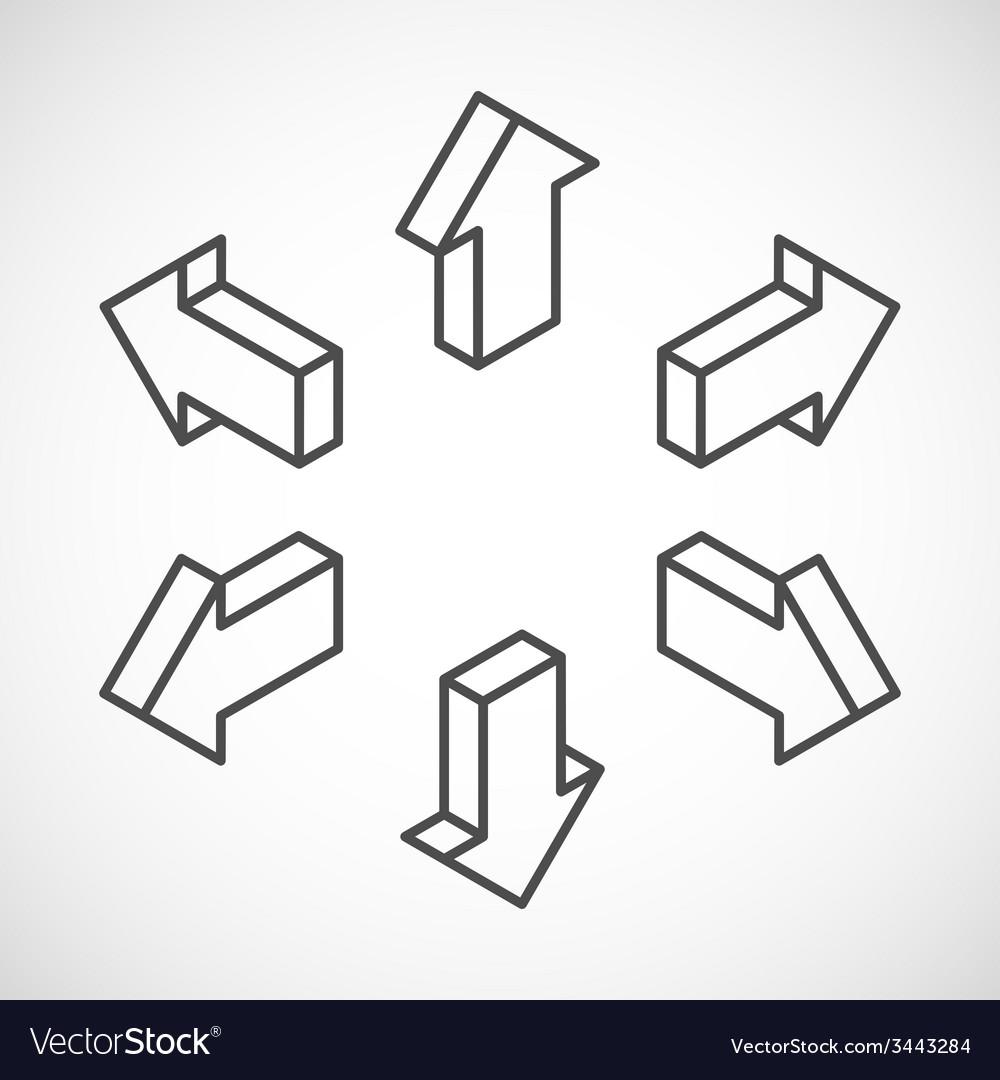 Set of isometric arrows vector | Price: 1 Credit (USD $1)