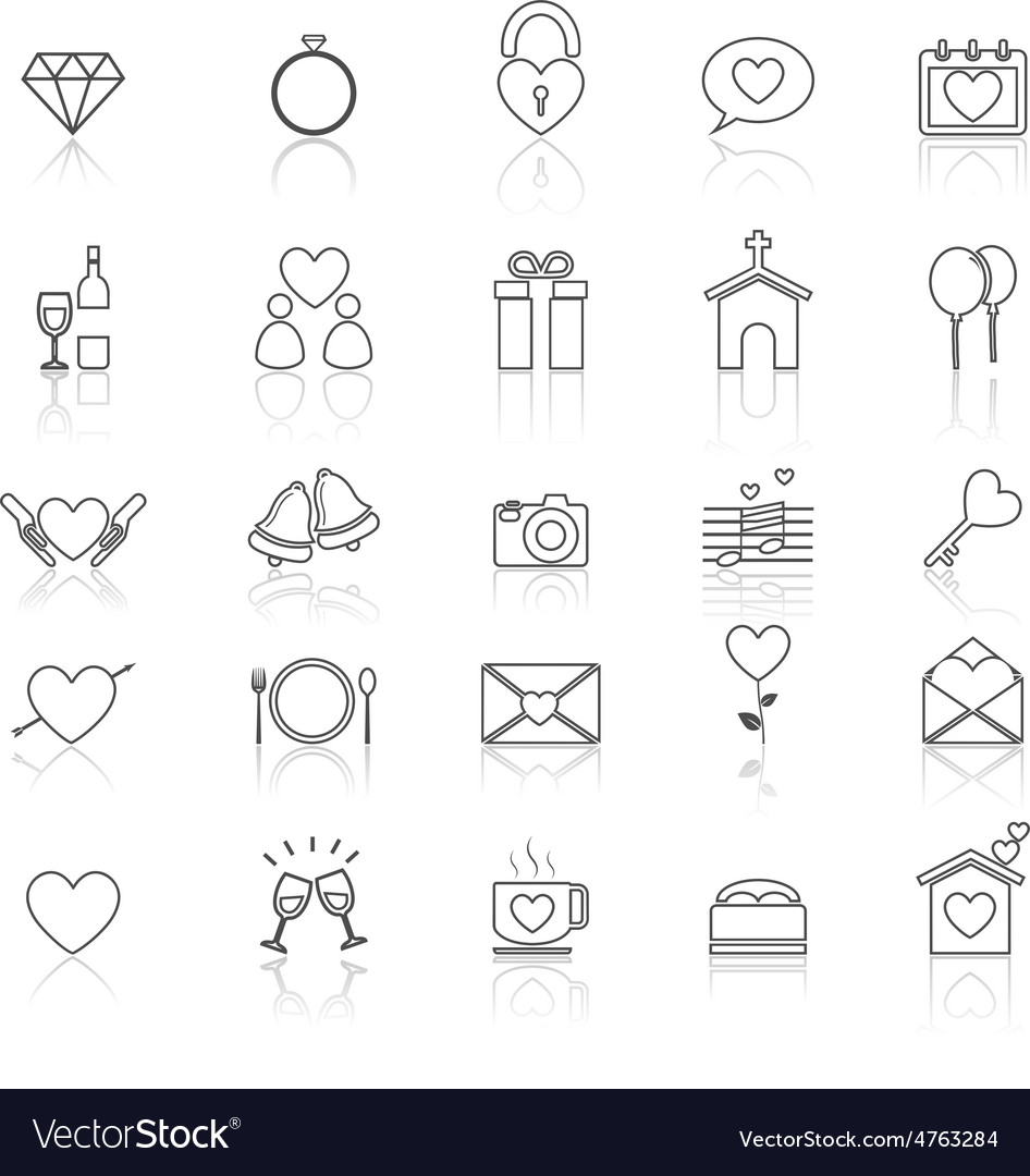 Wedding line icons with reflect on white vector   Price: 1 Credit (USD $1)