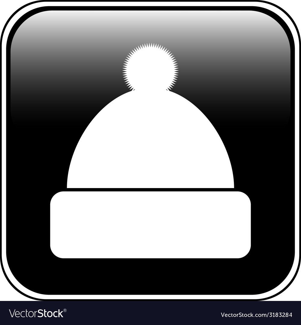 Winter hat symbol button vector | Price: 1 Credit (USD $1)