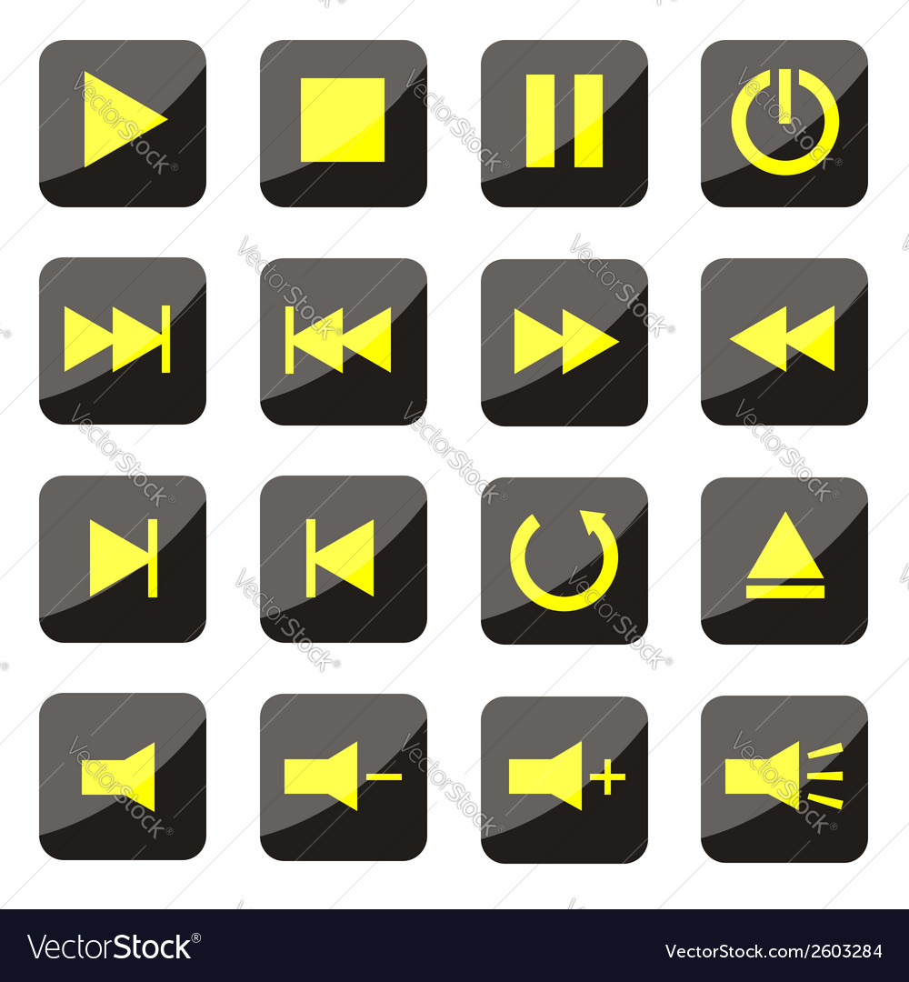 Yellow media player buttons vector | Price: 1 Credit (USD $1)