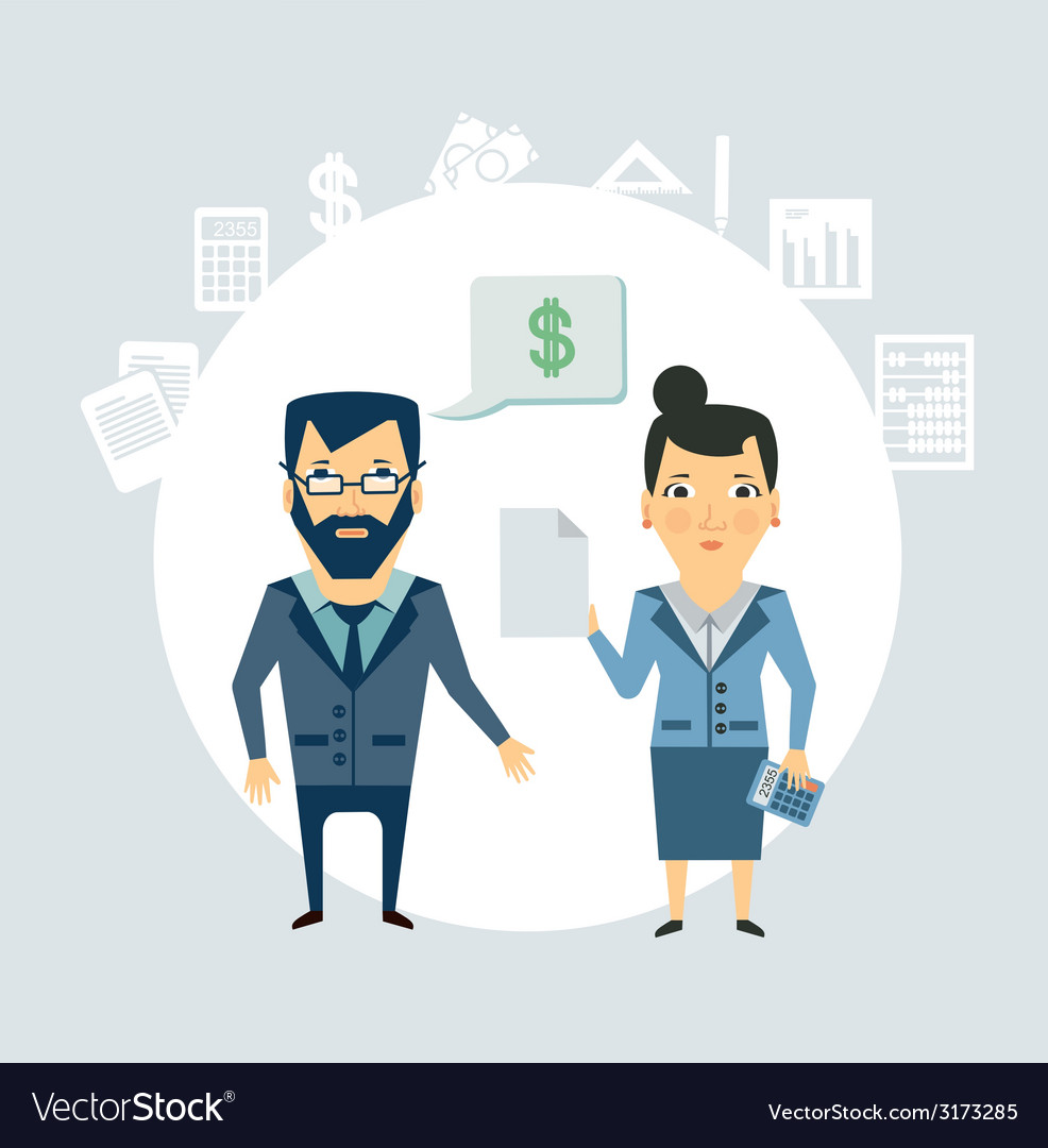 Accountant tells the client vector | Price: 1 Credit (USD $1)