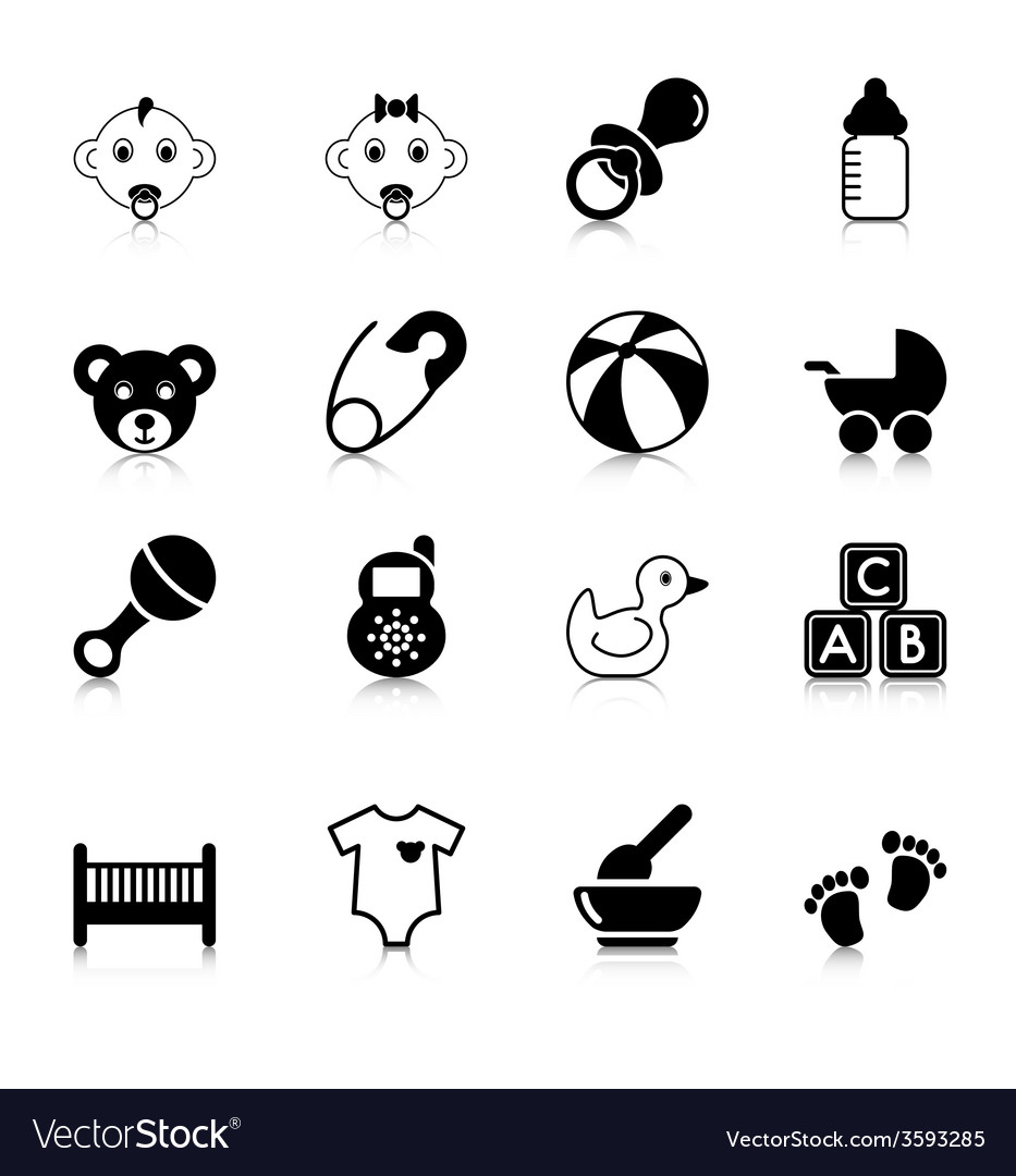Baby icons with reflection vector | Price: 1 Credit (USD $1)